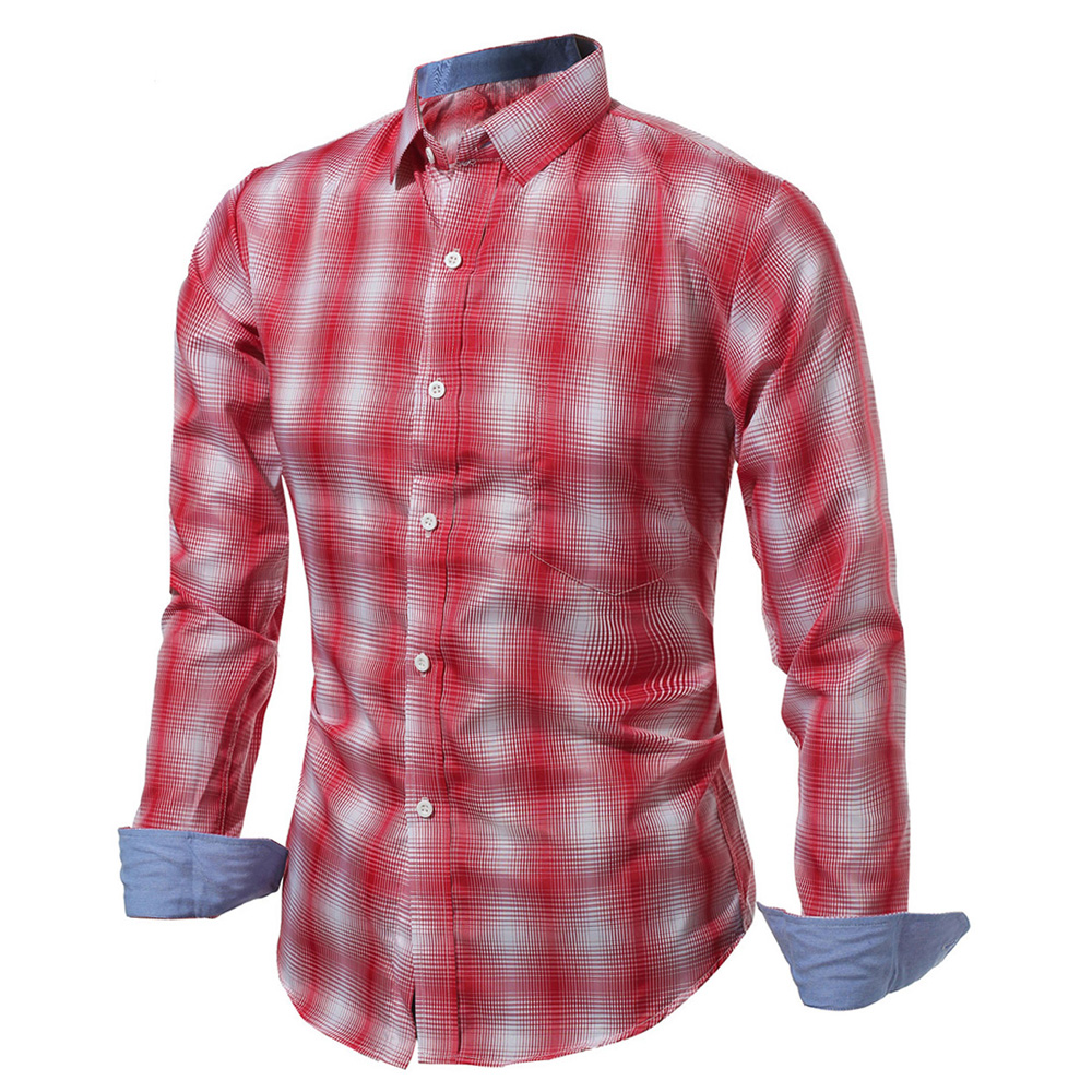 New Mens Check Plad Long Sleeve Casual Slim Fit Dress