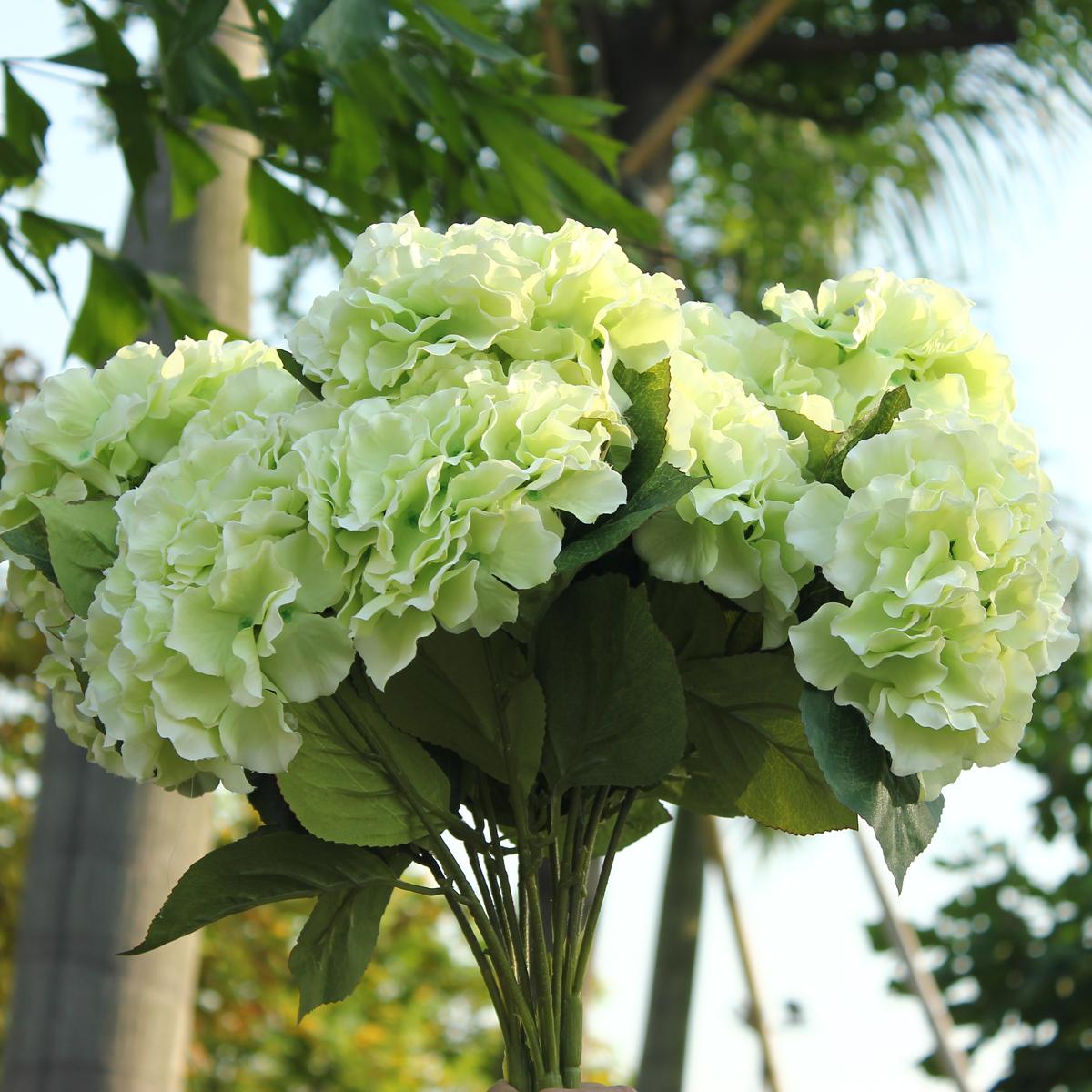 Green artificial silk hydrangea 5 flower heads bouquet for Flower heads for crafts