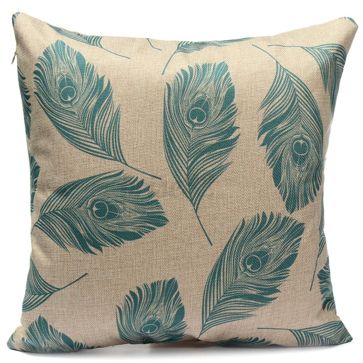 Lavender Throw Pillows : Leaves Feather Linen Cotton Cushion Cover Throw Pillow Case Home Sofa Car Decor eBay