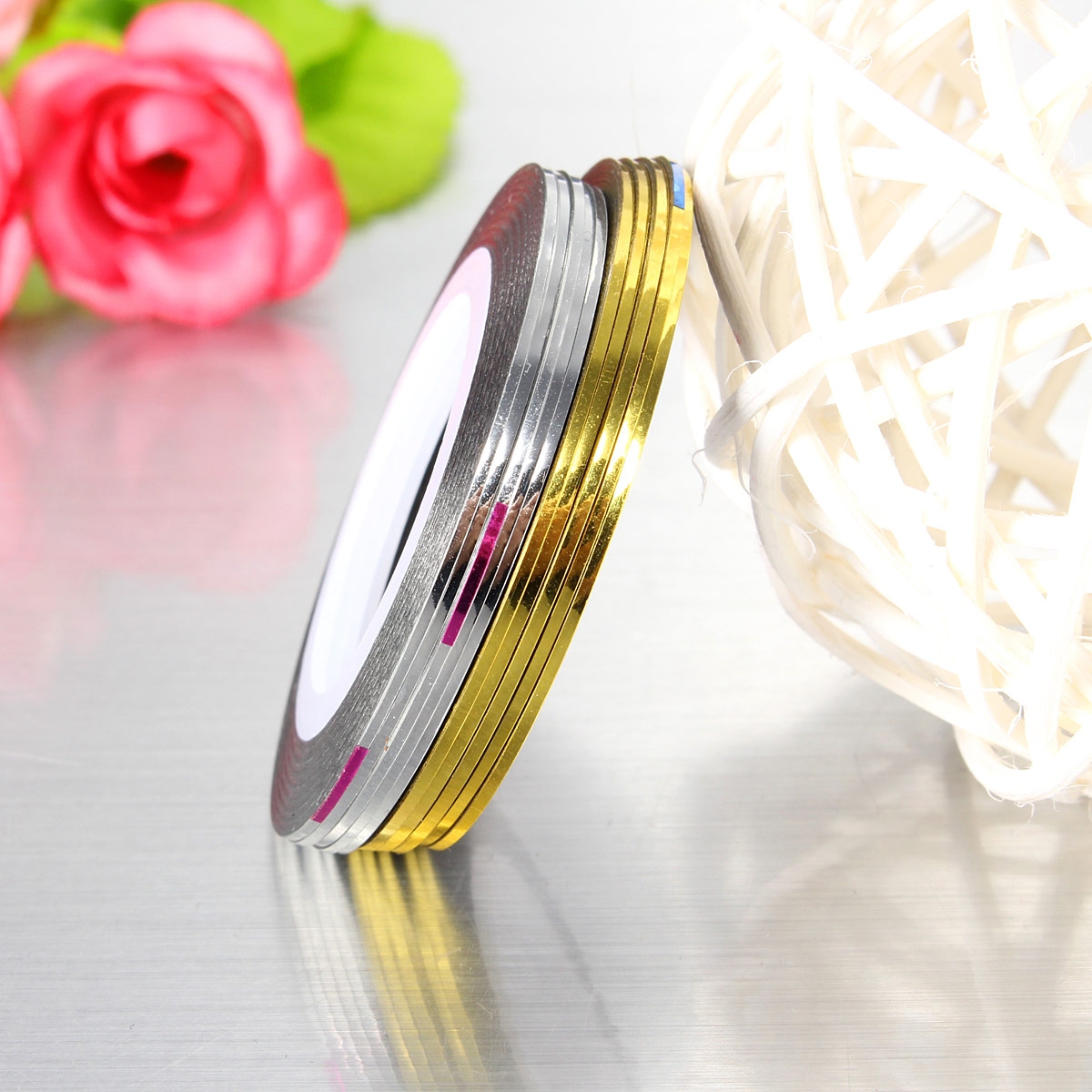 10 Roll DIY Gold Silver Nail Tape Stickers Stripes Liner Art Tips Decoration Hot