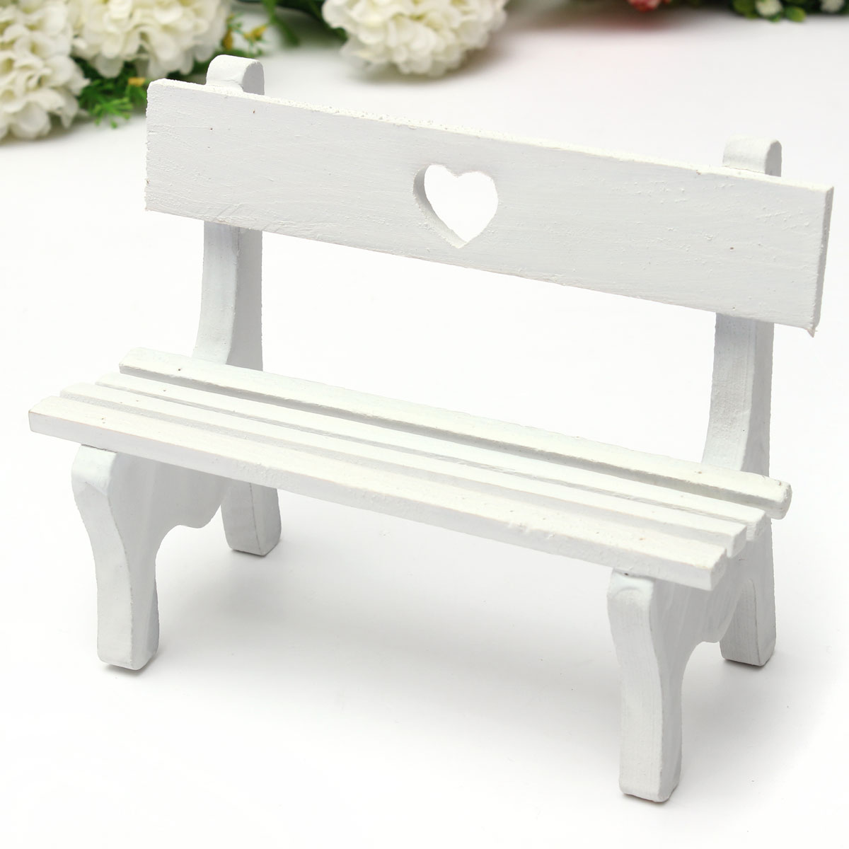Mini Fairy Garden Wooden Chair Bench Wedding Cake Model DollHouse Grocery Decor