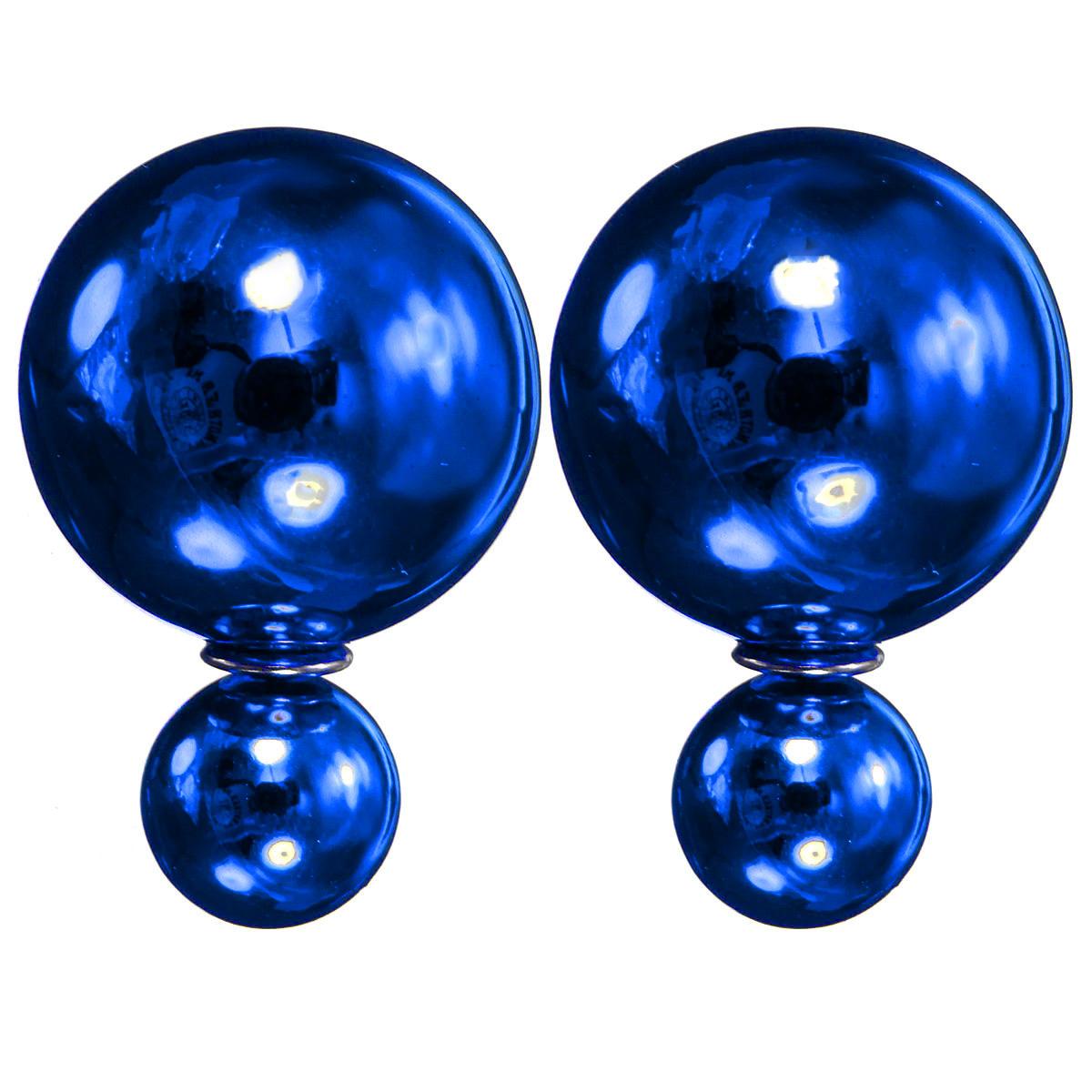 femme boucles d 39 oreilles double perles boule cristal clou earring studs bijoux ebay. Black Bedroom Furniture Sets. Home Design Ideas