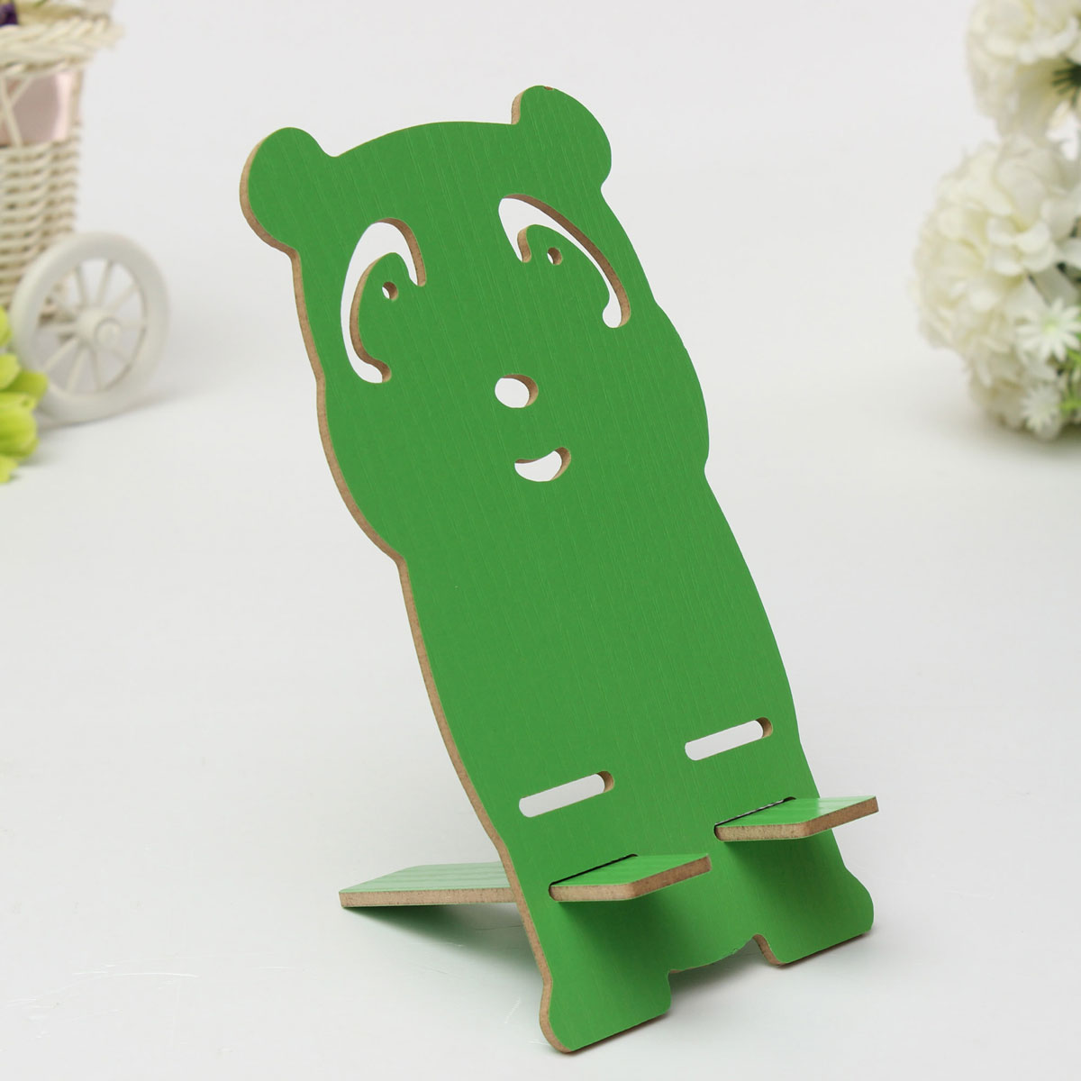 Wood Wooden Cute Panda Animal Desk Table Stand Holder For Cell