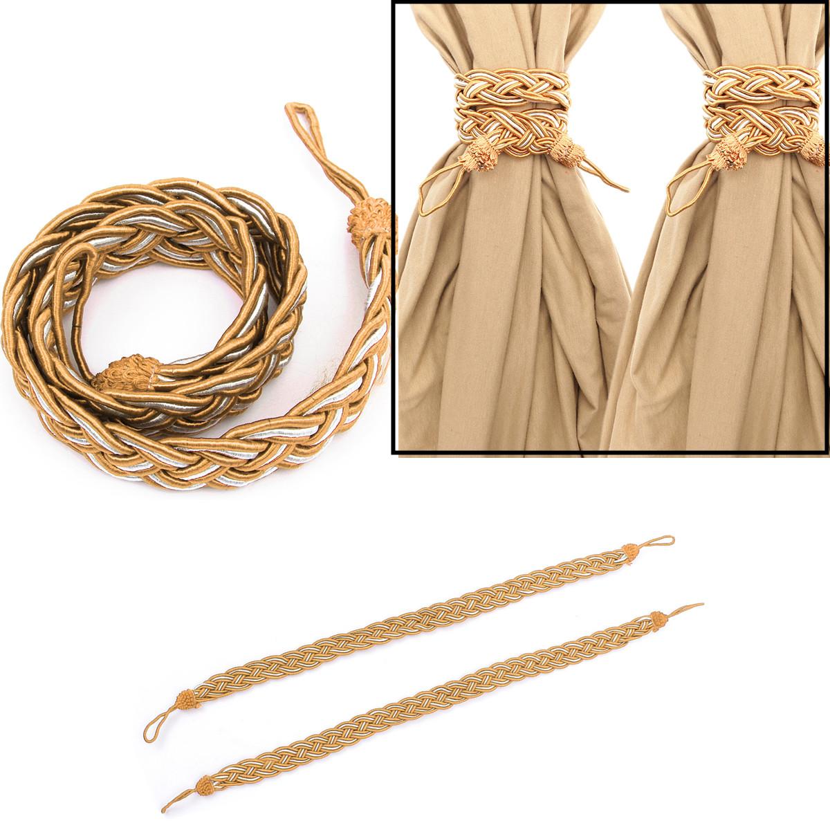 1 paire embrasse attache corde rideau pompon frang pr maison chambre decoration ebay. Black Bedroom Furniture Sets. Home Design Ideas