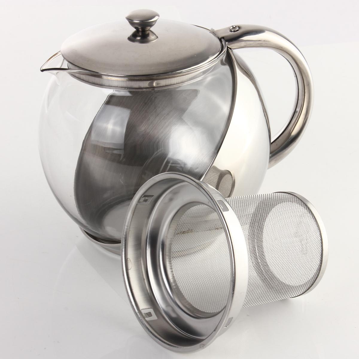 moderne verre th i re pot acier inoxydable avec filtre passoire 500 750 900 ml. Black Bedroom Furniture Sets. Home Design Ideas