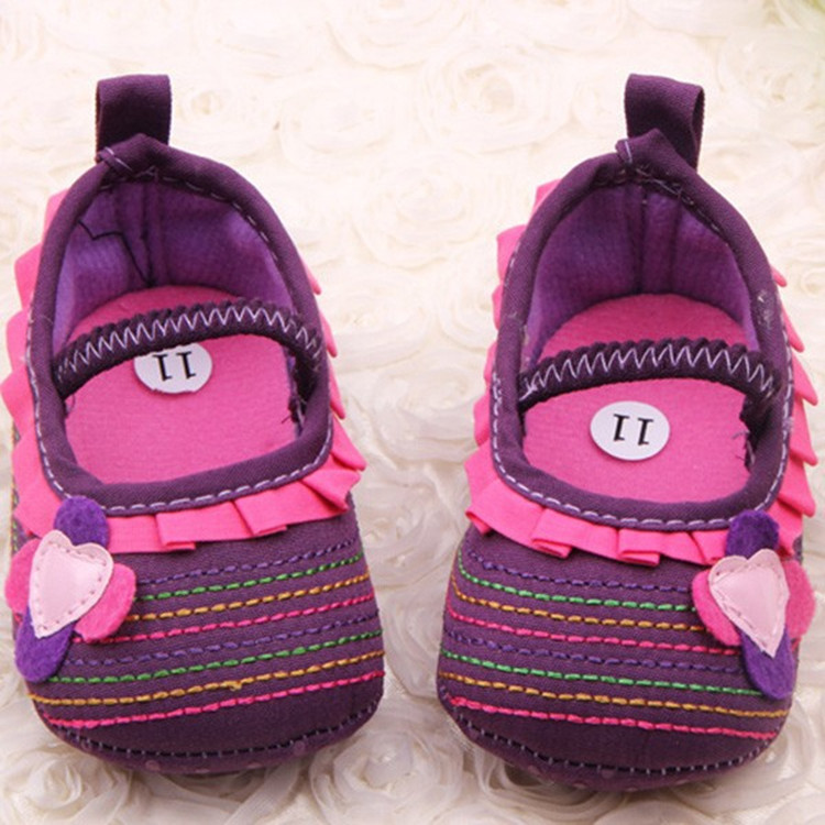 Newborn Baby Sweet Girl Flower Ruffled Shoes Toddler Soft Bottom Crib Walk Shoes
