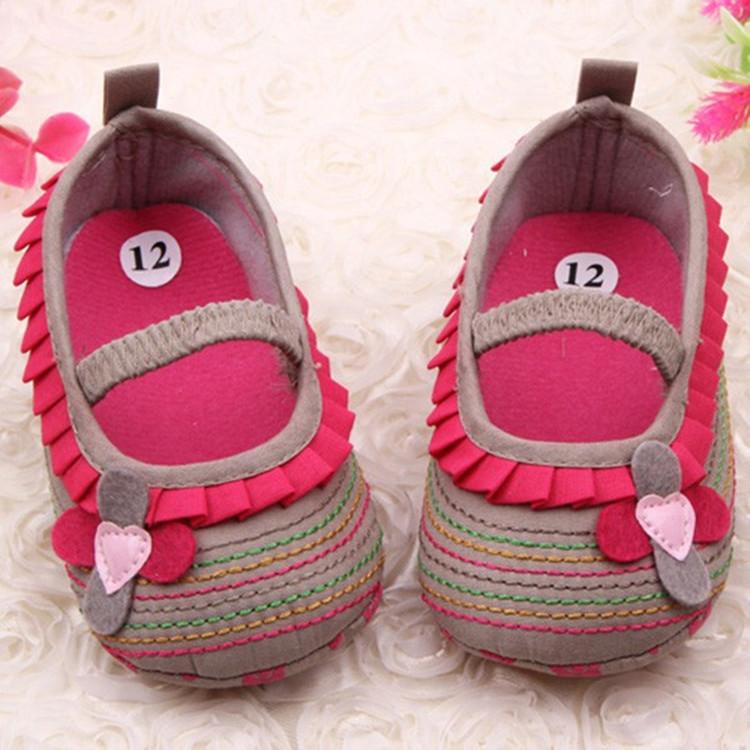 Newborn Baby Sweet Girl Flower Ruffled Shoes Toddler Soft Bottom Crib Walk Shoes
