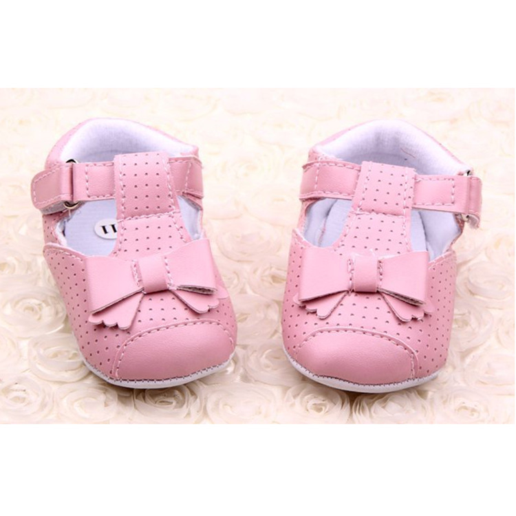 Baby Girls Kids Soft Sole Crib Holes Dot Bowknot Princess Mary Jane Shoes
