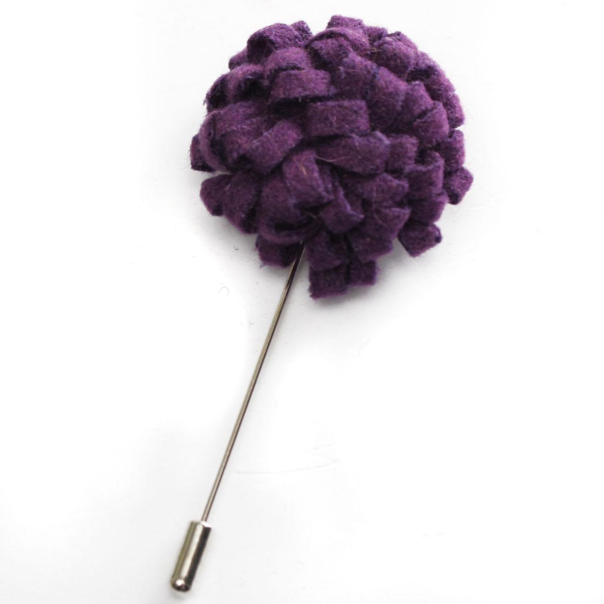 Men Wool Felt Lapel Flower Stick Pin Brooch Boutonniere Wedding Party Tuxedo