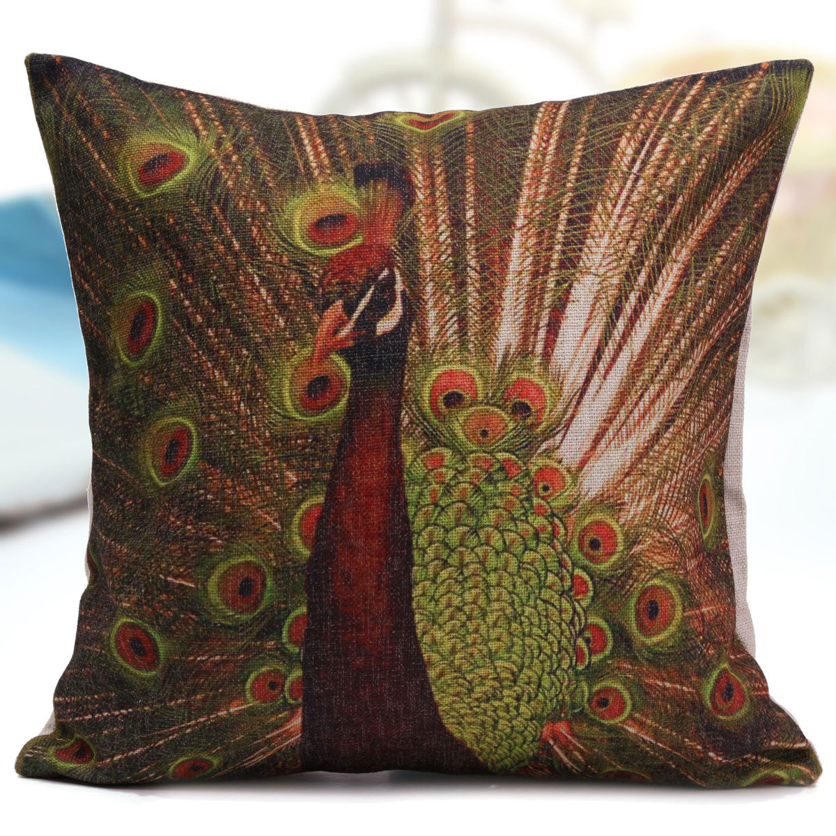 Throw Pillow Peacock : Peacock Bird Cotton Linen Throw Pillow Case Car Back Cushion Cover Decorative eBay