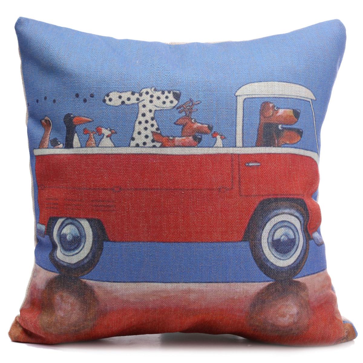 Vintage Car Dog Cat Cotten Linen Throw Pillow Case Cushion