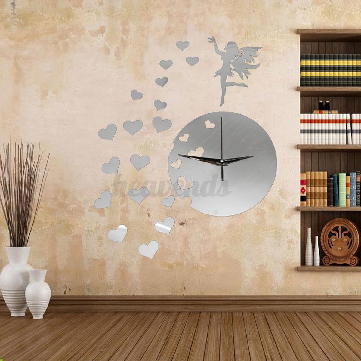 Diy 3d horloge murale moderne design miroir maison art for Horloge murale moderne design