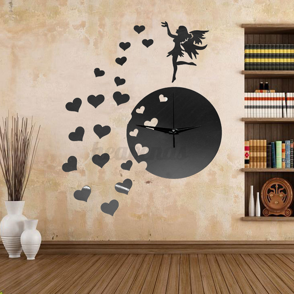 Diy 3d horloge murale moderne design miroir maison art for Miroir moderne decoration