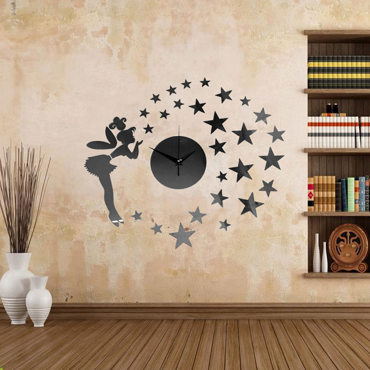 fee ange sticker mural horloge montre pendule 3d diy adh sive chambre salon home ebay. Black Bedroom Furniture Sets. Home Design Ideas