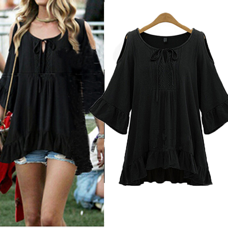 Off Shoulder Summer Women Loose Flounce Sleeve MIni Dress Pleated Blouse Tops