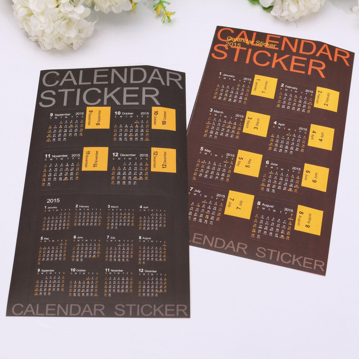 2 pcs Calendar Paper PP film Sticker 2015 Scrapbook Calendar Diary Planner Decor