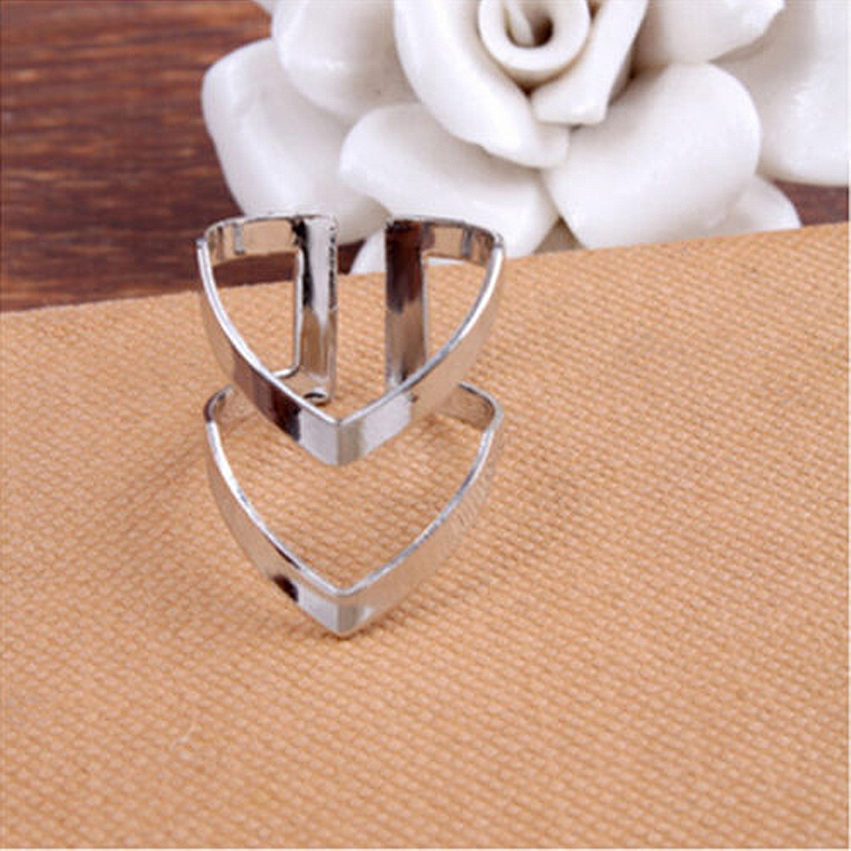 Women Lady Shiny Polished Two Double Lines V Shaped Open Band Ring Adjustable