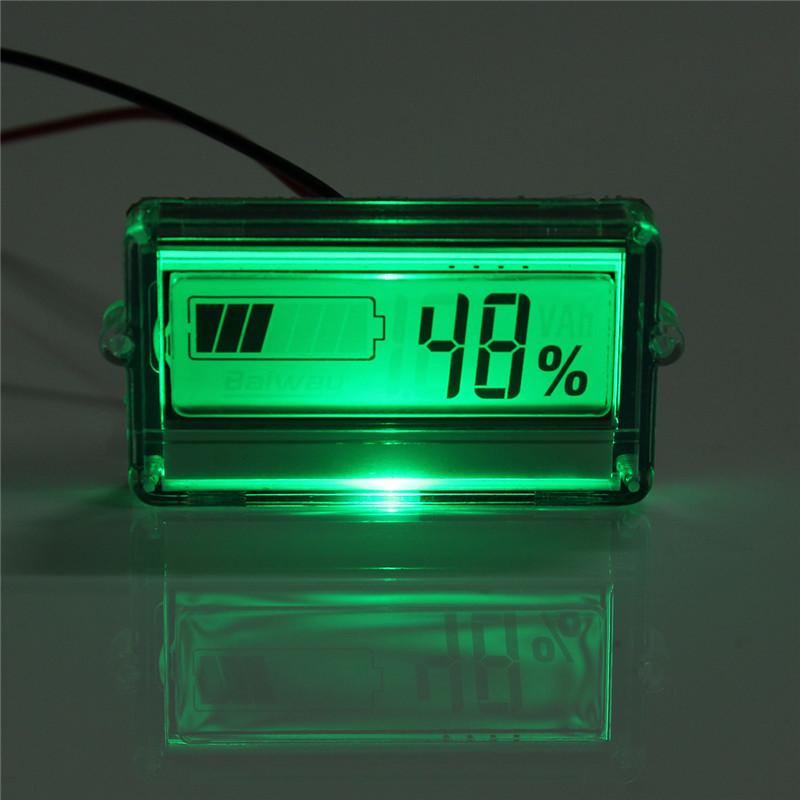 Digital Battery Meter : V lithium battery capacity tester indicator waterproof