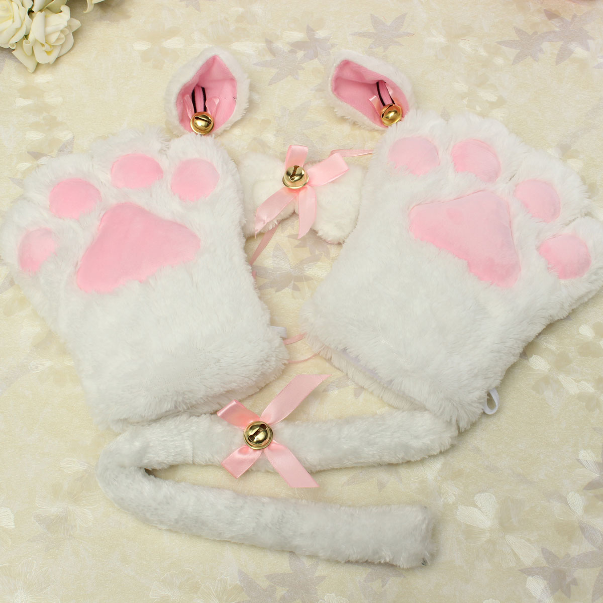 Sexy Flutty Cat Maid Cosplay Anime Costume Plush Gloves Paw Ear Tail Tie Party