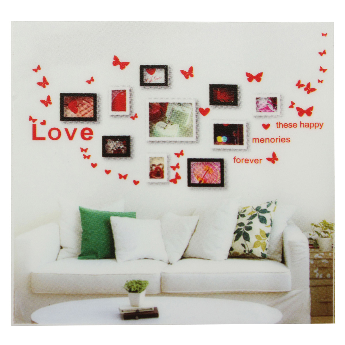 Diy butterfly love heart photo frame wall sticker home for Home decor 2 love