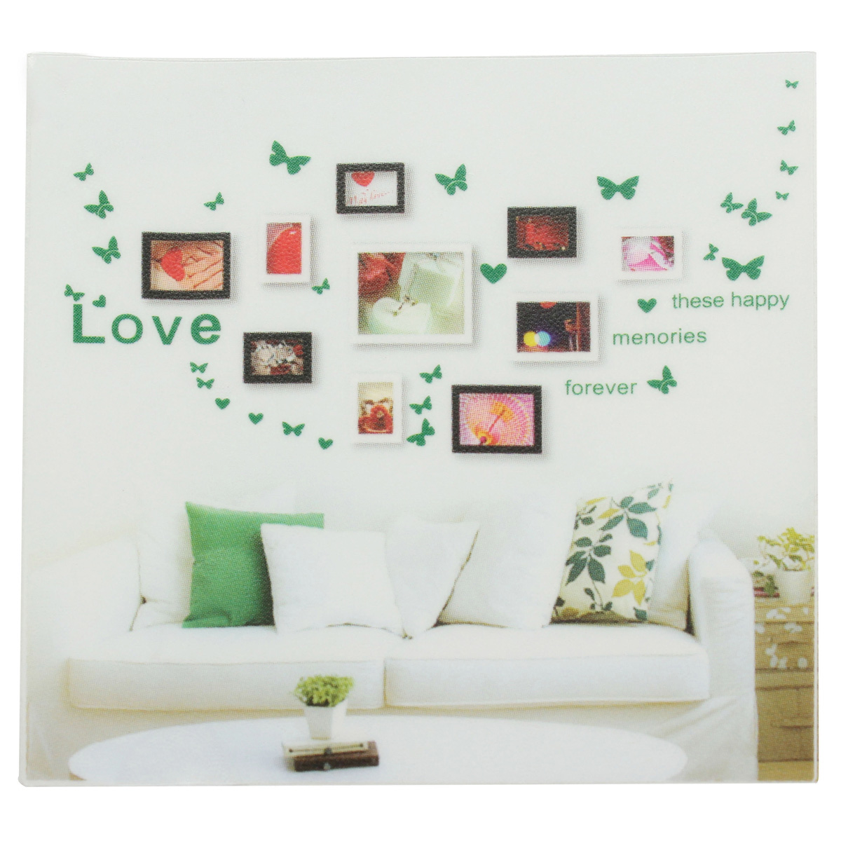 Wall Art Stickers B And Q : Diy butterfly love heart photo frame wall sticker home