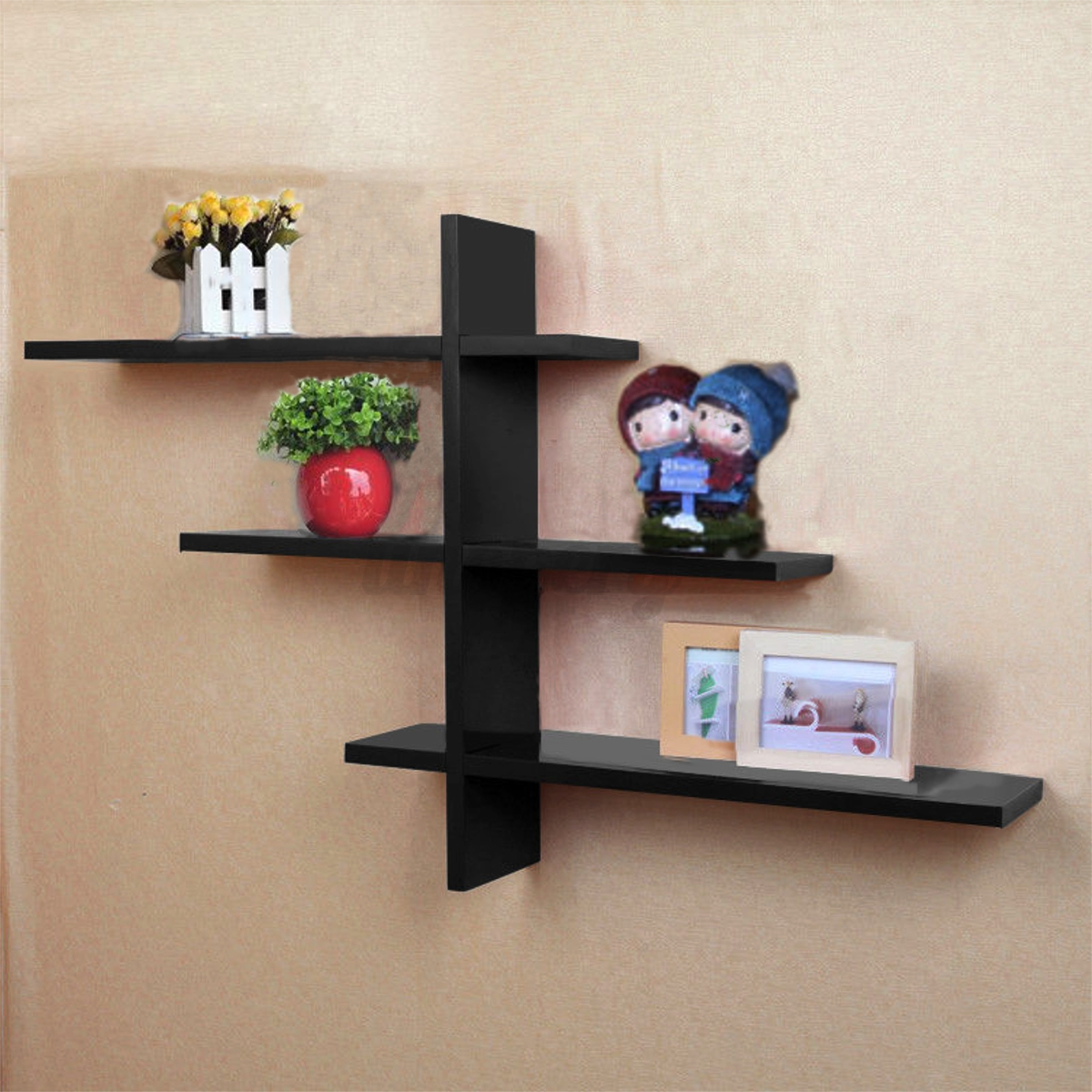 Set of 7 retro t shaped floating wall shelves book shelf for Cd mural wall display