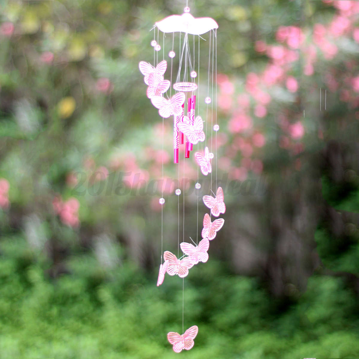 New creative butterfly mobile wind chime bell garden for Hanging garden ornaments