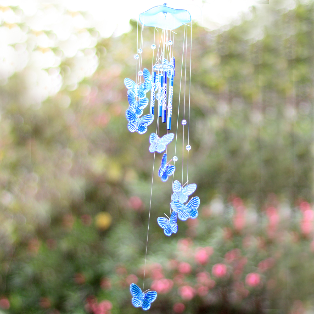Butterfly mobile wind chime bell garden ornament gift for Hanging garden ornaments