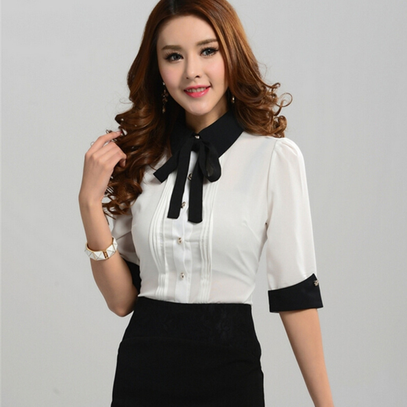 Career OL Women Lapel Collar Bow Slim Tops Long Sleeve Button Down Shirt Blouse