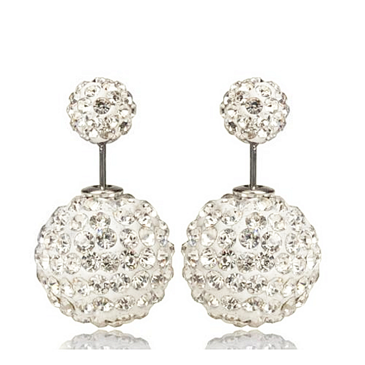 boucles d 39 oreilles boule cristal double perle clous dormeuse puces bijoux femme ebay. Black Bedroom Furniture Sets. Home Design Ideas