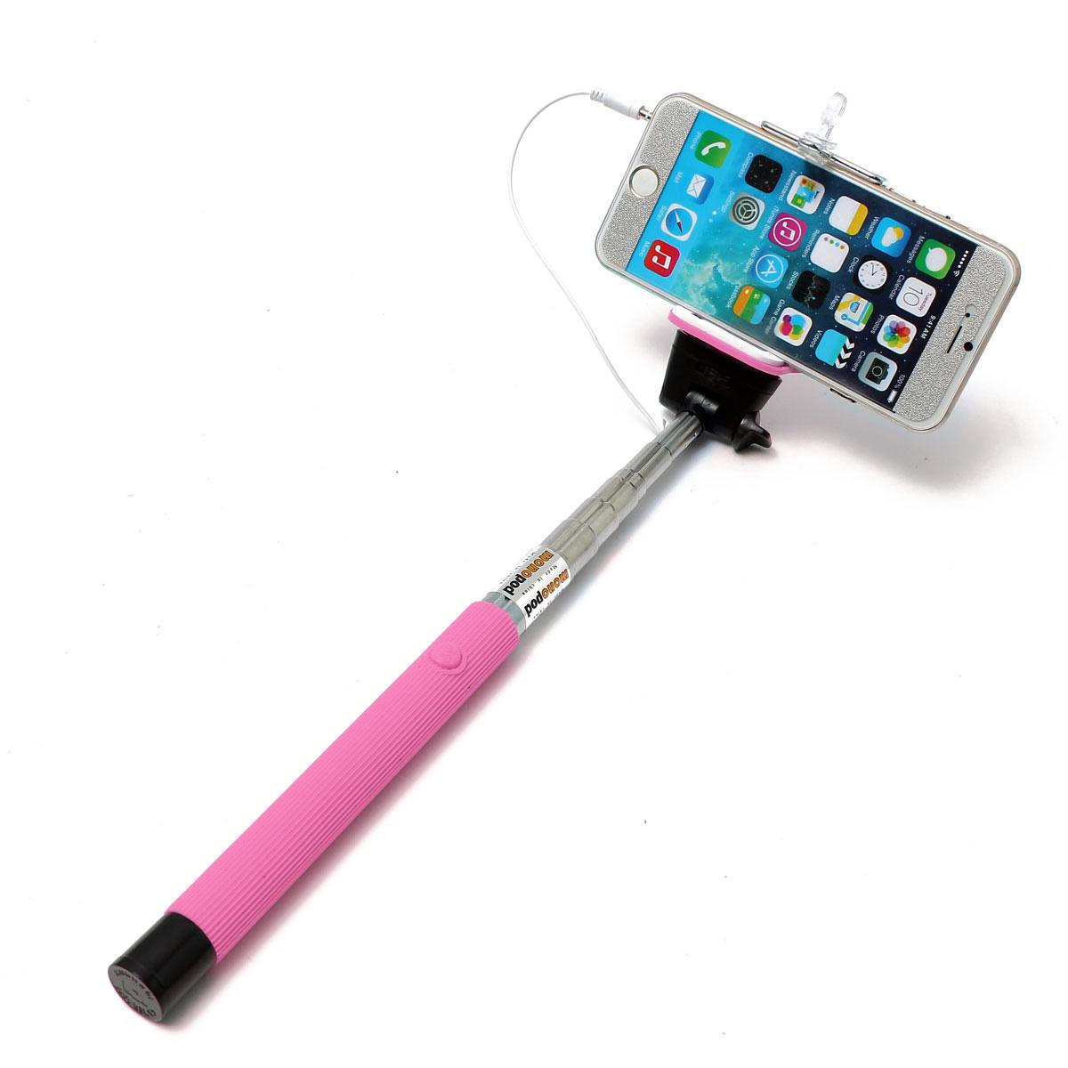 extendable wired remote shutter handheld selfie stick monopod for iphone ipod ebay. Black Bedroom Furniture Sets. Home Design Ideas