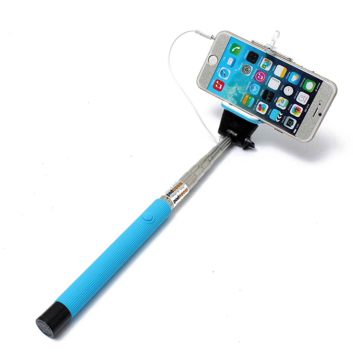 extendable wired remote shutter handheld selfie stick monopod for iphone ipod ebay. Black Bedroom Furniture Sets. Home Design Ideas