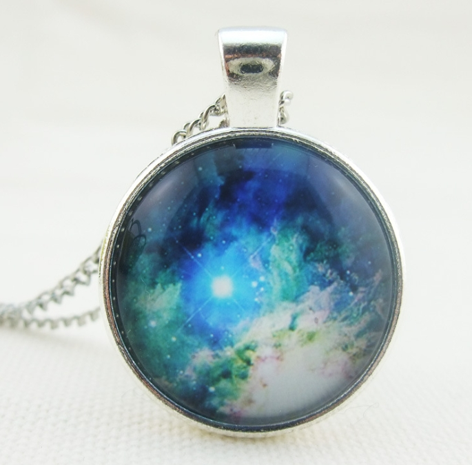 Retro Galaxy Universe Space Glass Pendant Necklace Charm Handmade Alloy Chain