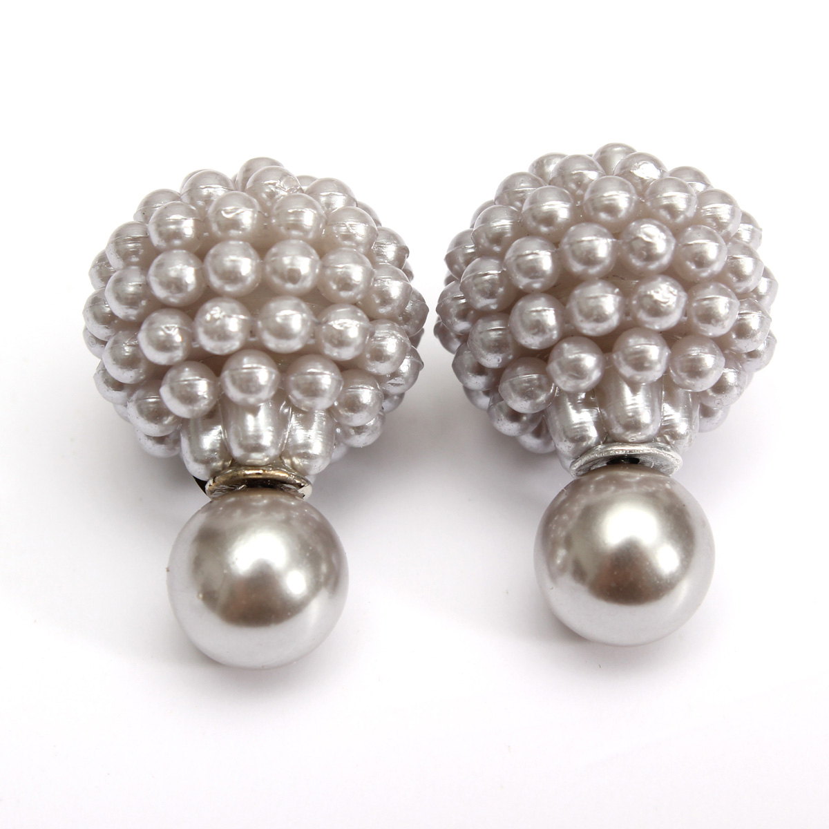 Celebrity Style Beads: 1Pair Celebrity Women Double Pearl Beads Hollow Ball Ear
