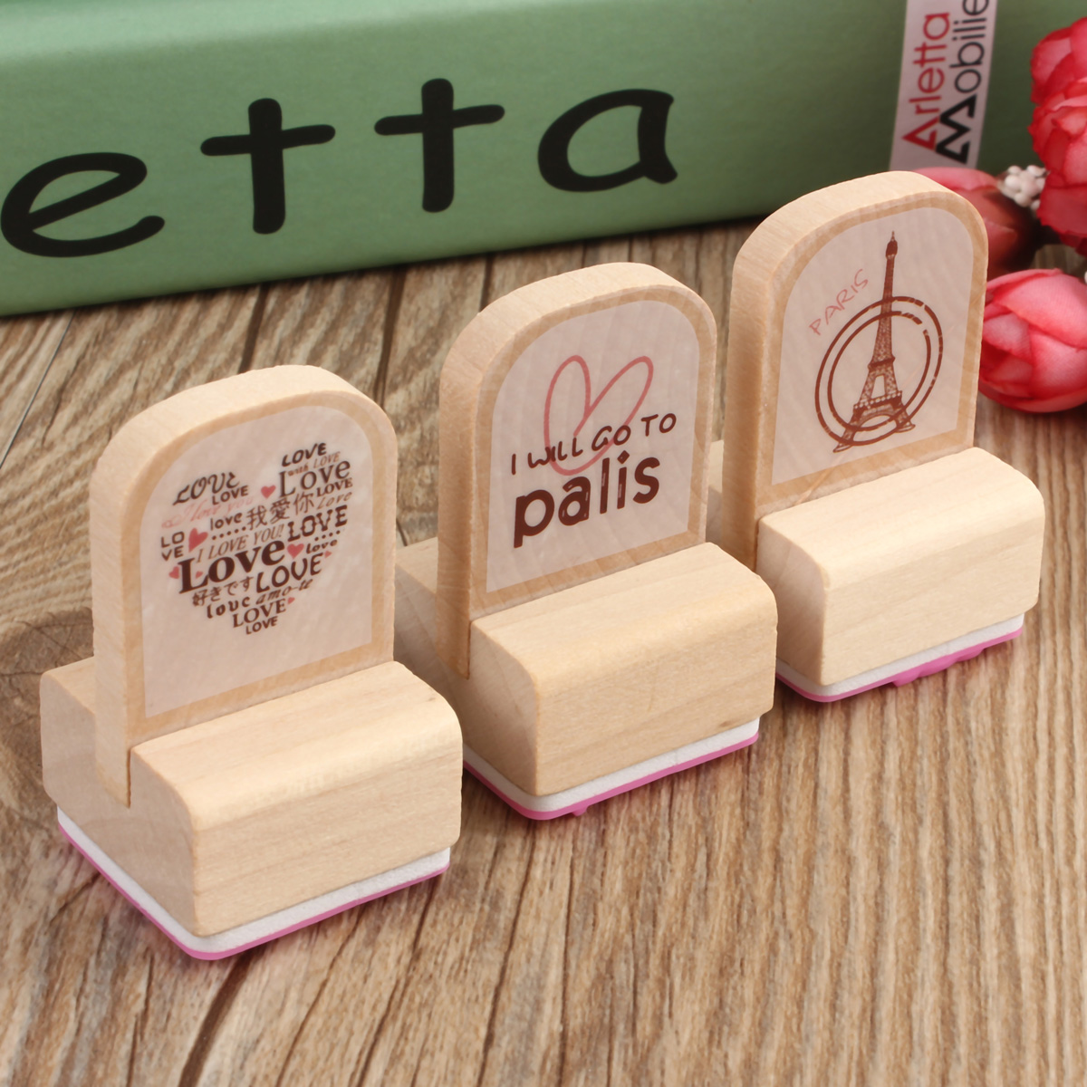 3Pcs Korean Lovely Cartoon Wooden Wood Rubber Stamp Stamper Seal Craft Diary Art