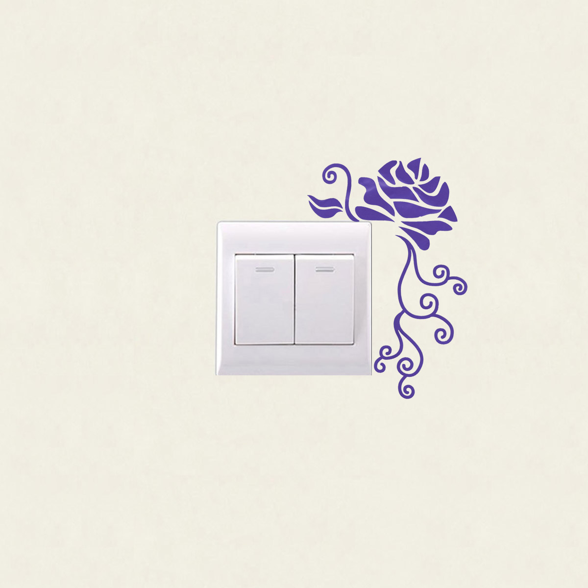 Rose flower wall sticker light switch decals removable for Mural lighting