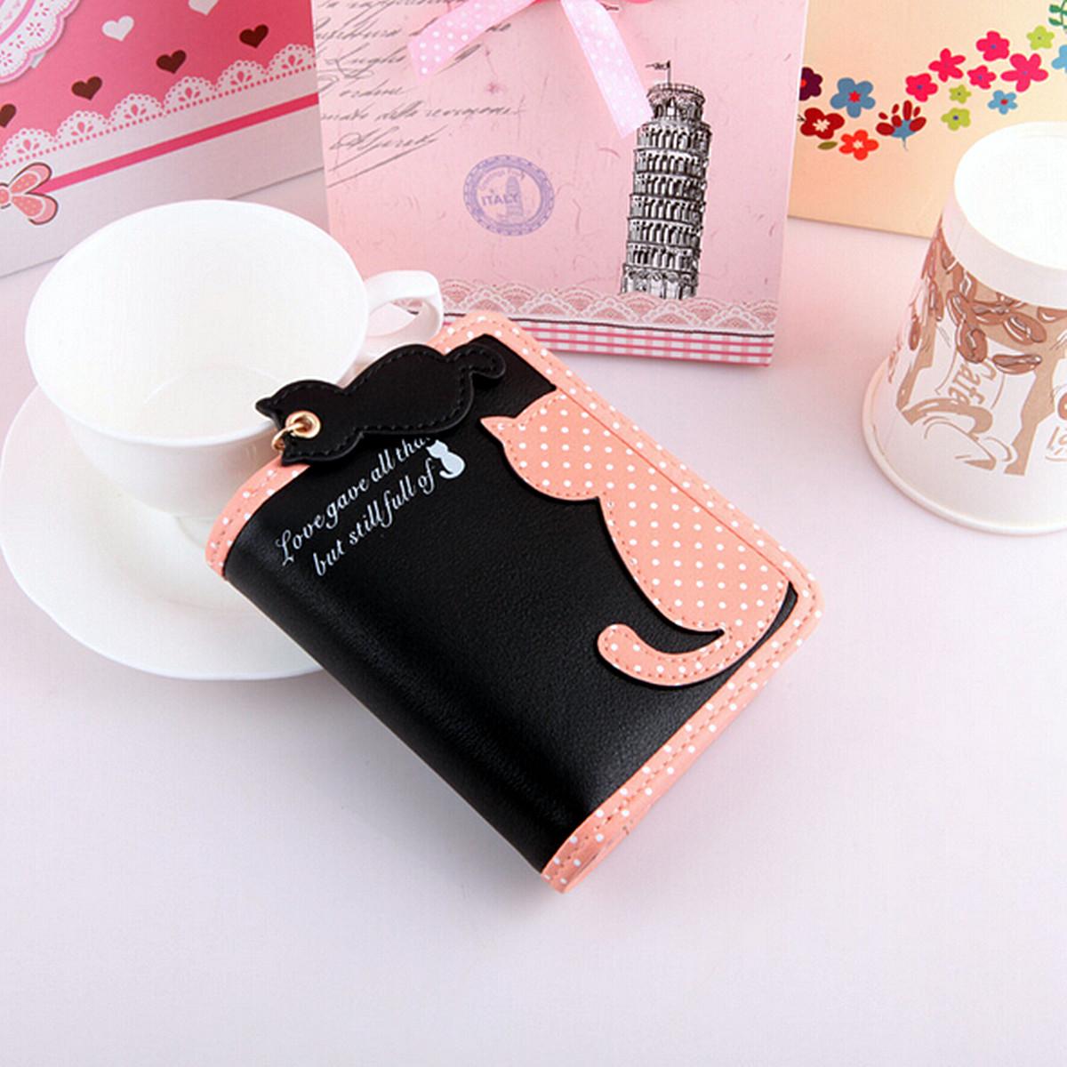 2015 Fashion Women Girl Purse Short Wallet Card Holder Zip Cat Phone Handbag Bag