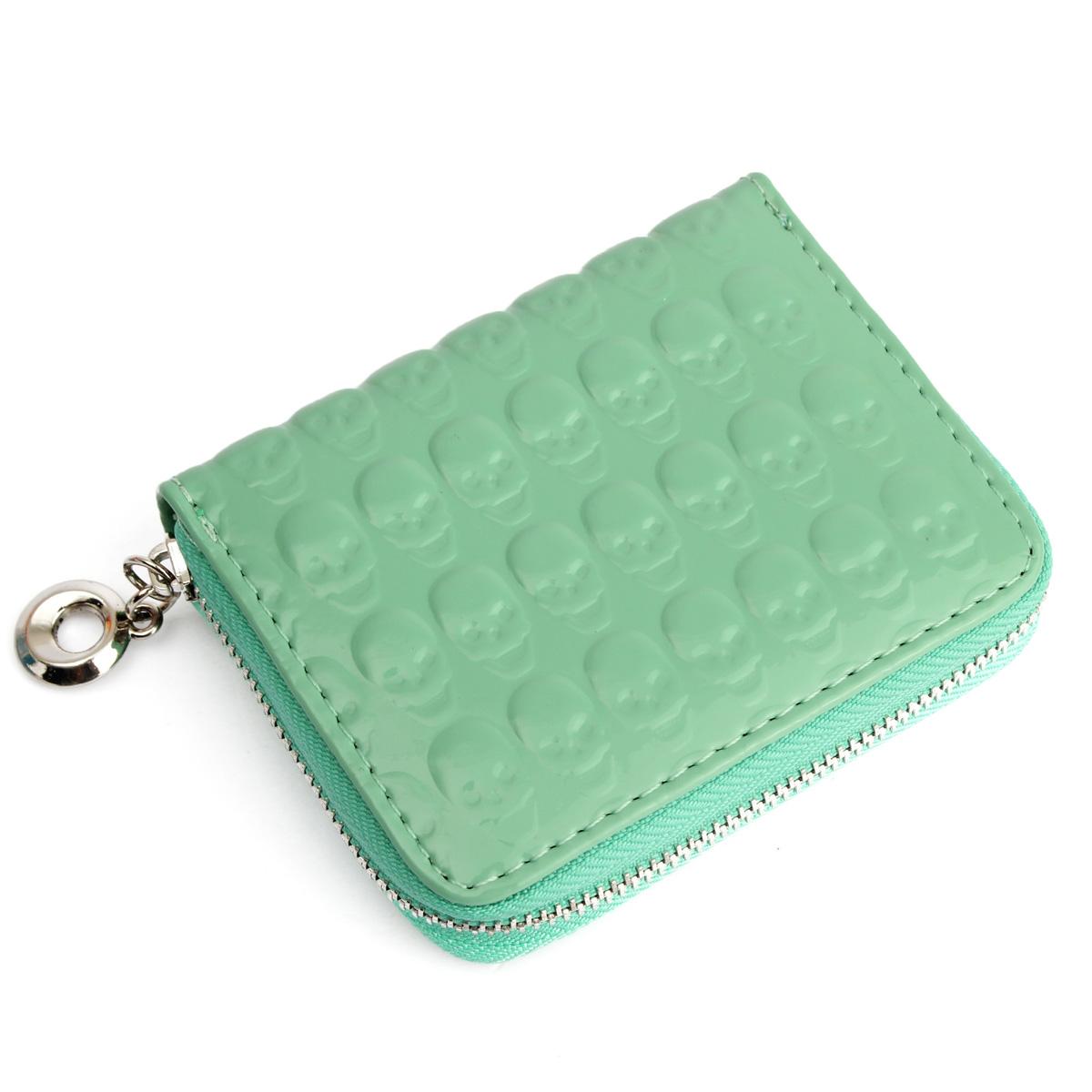 Women Zipper Leather Clutch Coin Bag Skull Short Mini Purse Wallet Card Holder