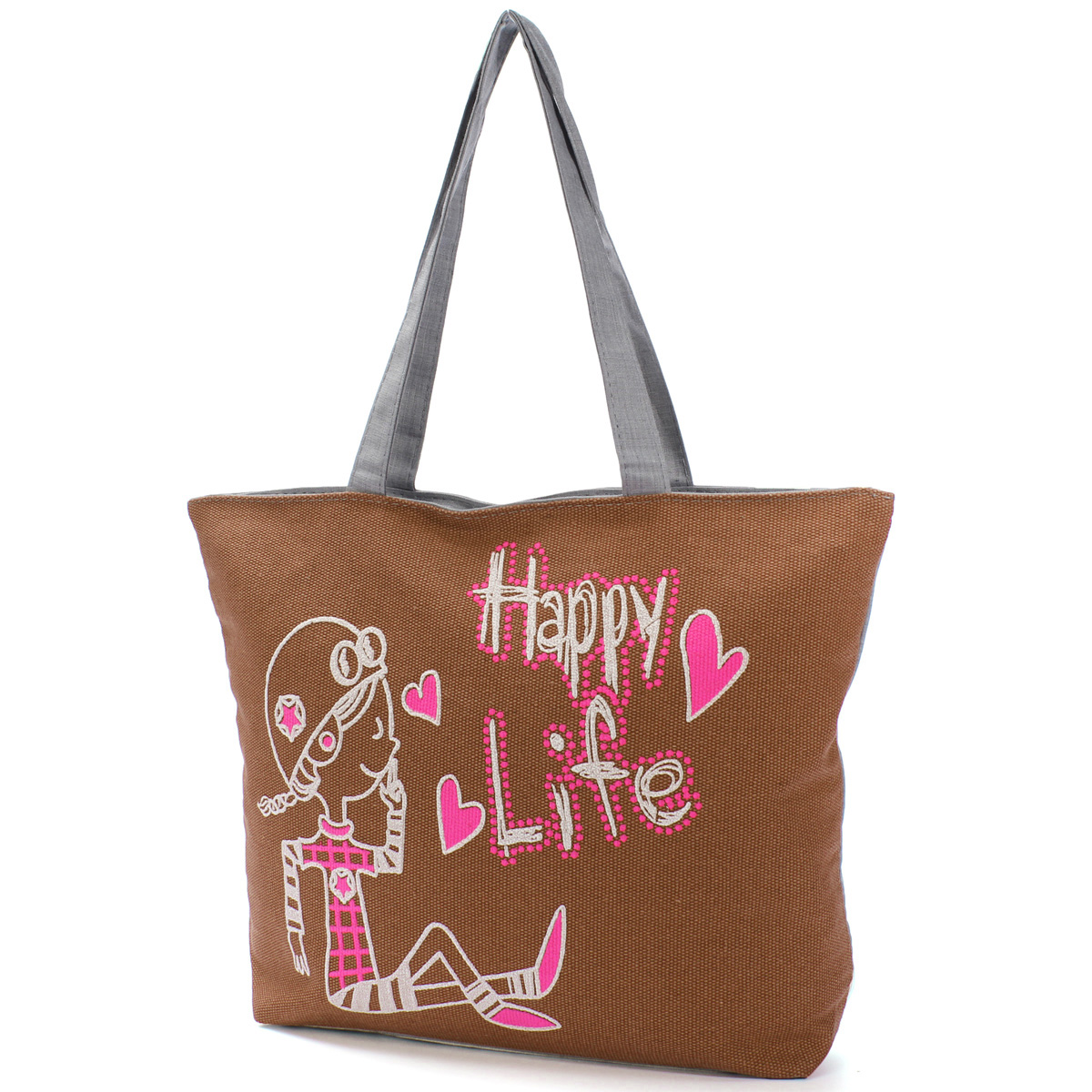 Women ladies canvas beach shoulder bag holiday tote