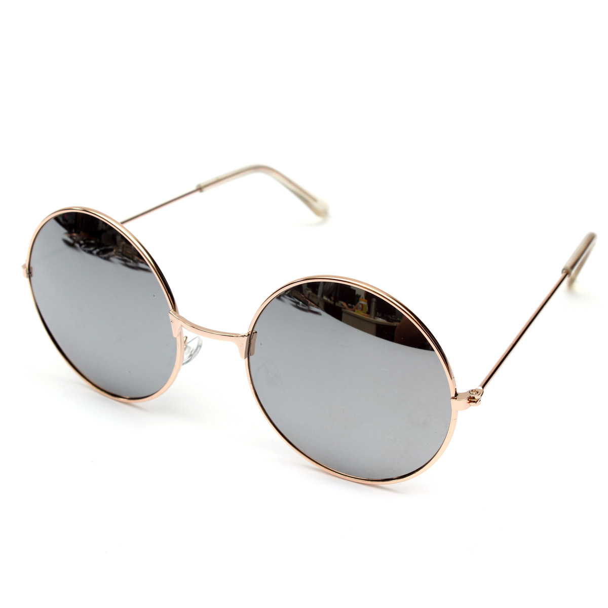 Retro Vintage Men Women Big Round Metal Frame Sunglasses ...
