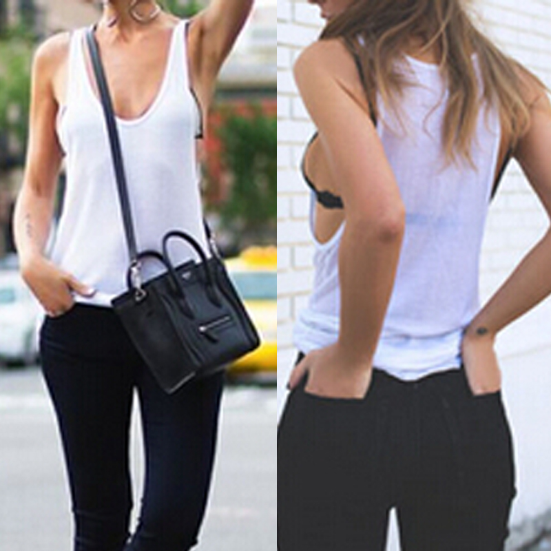 Women Girls Loose Hollow Vest Long Sleeveless Camisole Tank Tops T