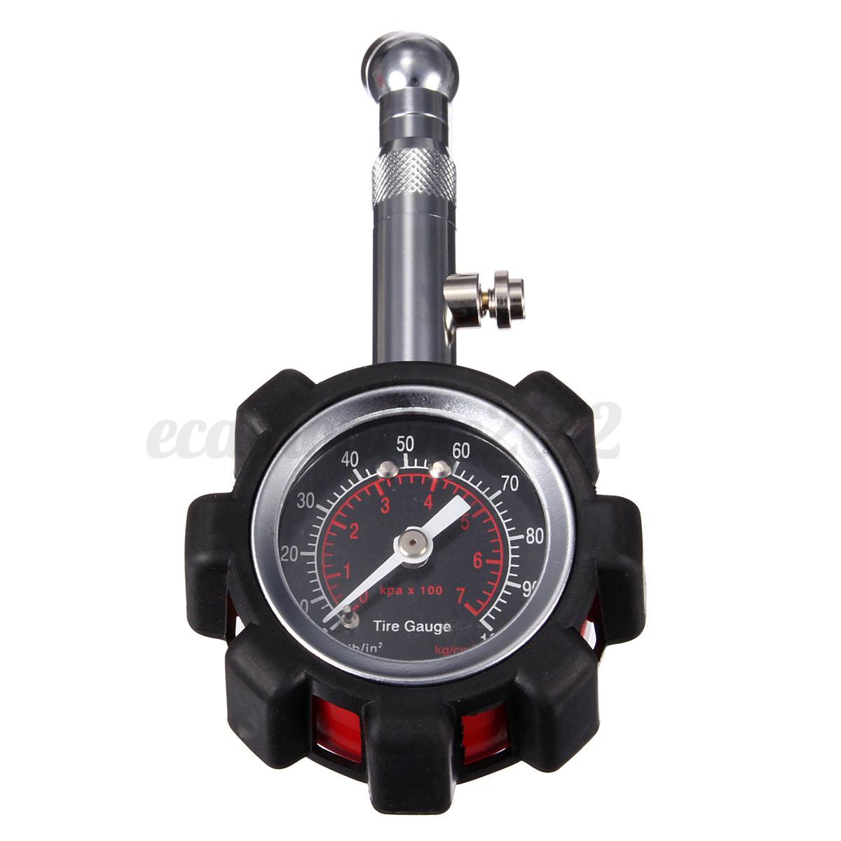 motor car truck bike tyre tire air pressure gauge dial meter tester 0 100 psi. Black Bedroom Furniture Sets. Home Design Ideas