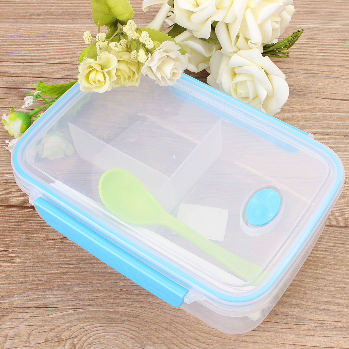 Plastic Bento Lunch Box Picnic Food Container Storage with Spoon Chopstick