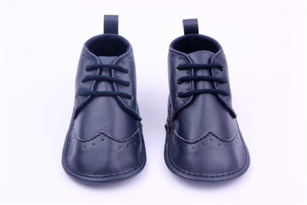 Kids Baby Boys Girls Lace Up PU Leather Prewalker Casual Soft Sole Crib Shoes