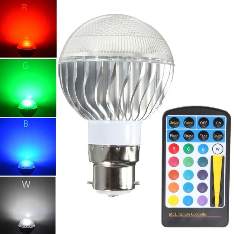 5W B22 E14 E27 Remote Control Color Changing LED Light Bulb RGB Lamp 85-265V