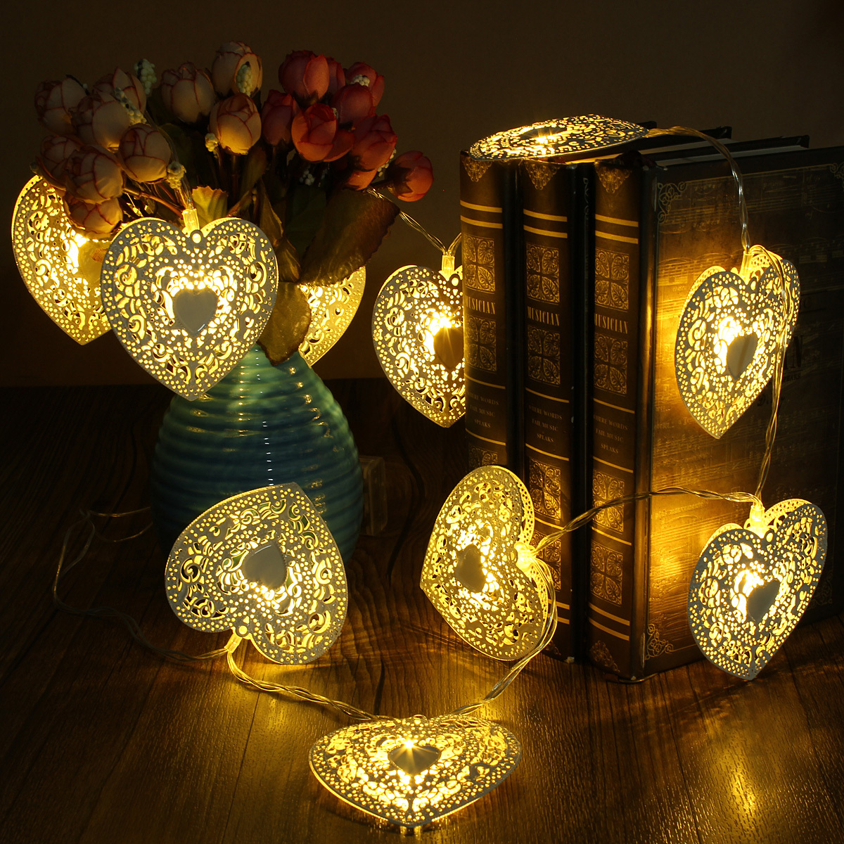 Metal Heart String Lights : 1.2m 10LED Love Metal Heart String Fairy Light Wedding Party Battery Warm White eBay