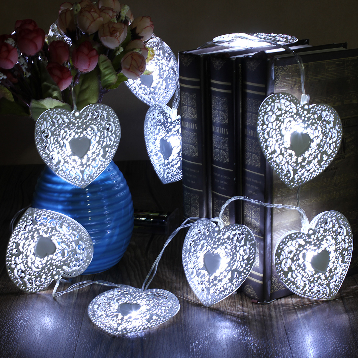warm cool white 10 led string love heart lights bedroom