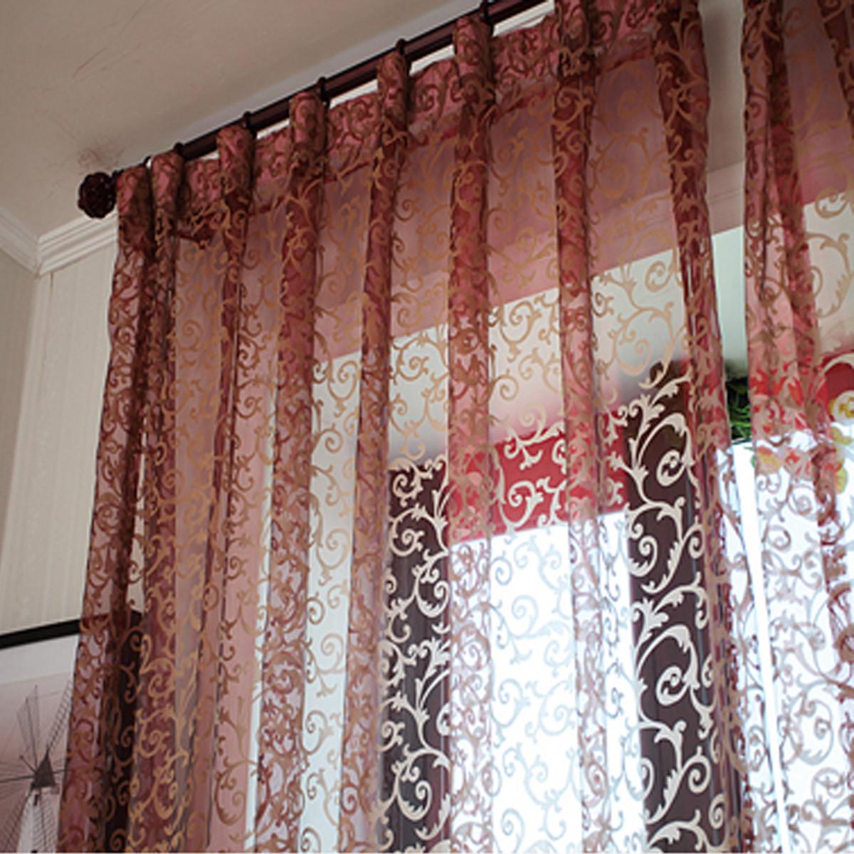 Floral rideau fen tre fil porte voilage moustiquaire for Moustiquaire rideau pour porte fenetre