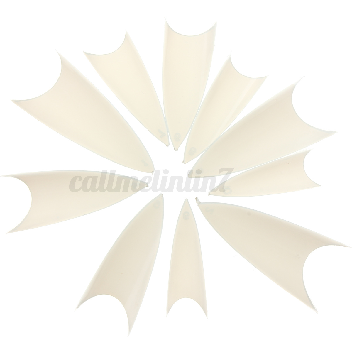 500 Finte Unghie Tips Stiletto Naturale Bianco Nail Art