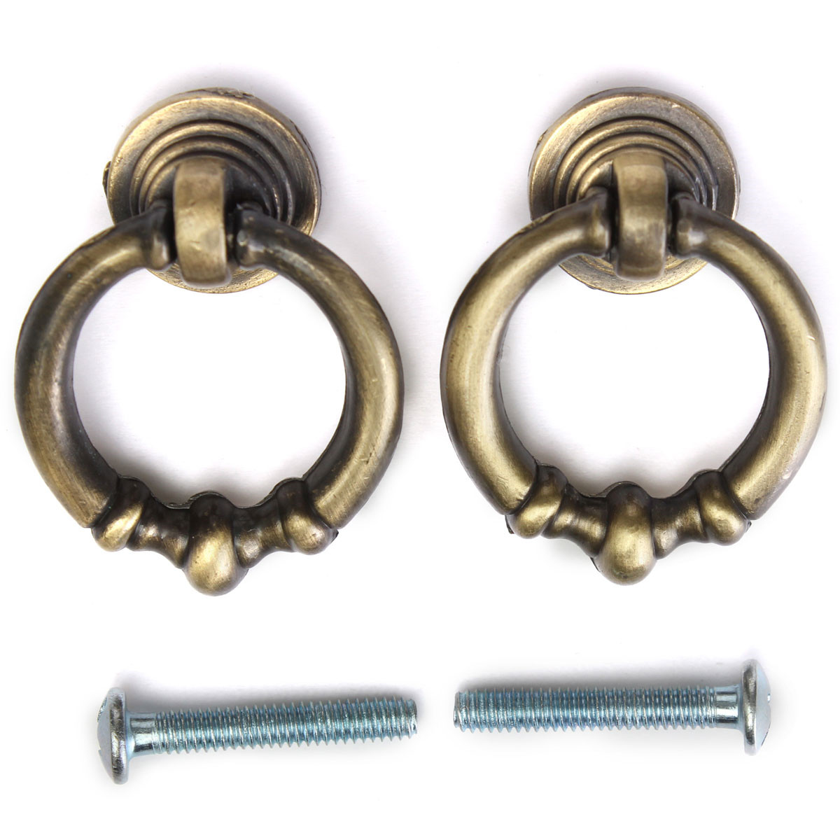 2Pcs Antique Cabinet Drawer Drop Ring Pulls Cupboard European Knobs Handle 4T